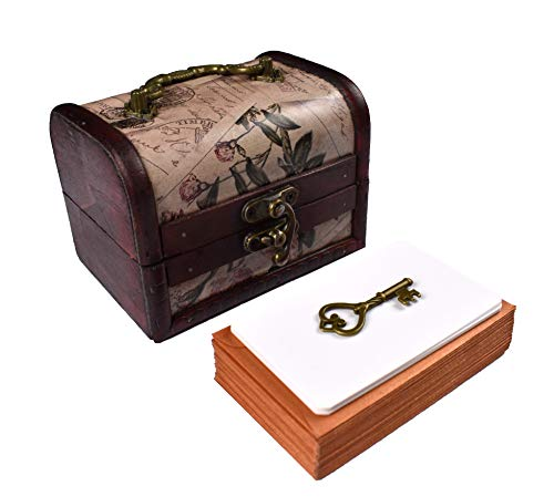 CANYLA Wooden Treasure Chest Gift Box (30 cards, 30 envelopes, 1 key charm). Treasured Messages for Your Loved Ones: Girlfriend, Boyfriend, Wife, Husband, Spouse, Friends, Parents, Siblings, Brother, Sister and Family.
