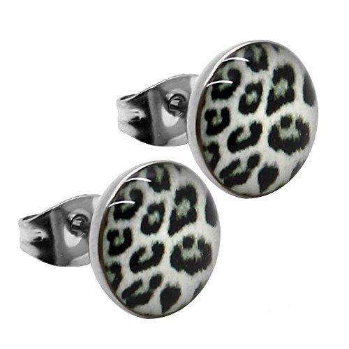 Tumundo® 1 Paar Edelstahl Ohrstecker Ø 10mm Ohrringe Leo Leopard Zebra Edelstahl Ohr DBraun Grau Weiß Grün Rosa Lila, Variante:leo weiß