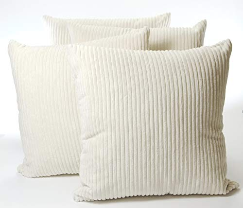 A Set of Four 18in x 18in Chenille Stripe Cushion Covers in Cream