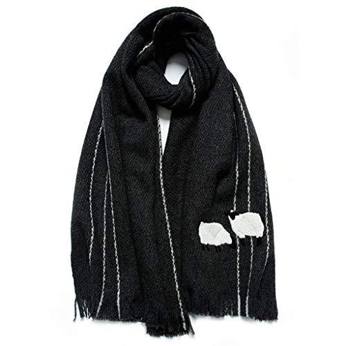 WCN Cálida Unisex Ovejas Bordadas Bufanda de Cachemira, Bufandas de Invierno de Moda cómodas y versátiles de Chal, Regalo de San Valentín de Navidad Cozy (Color : Black)