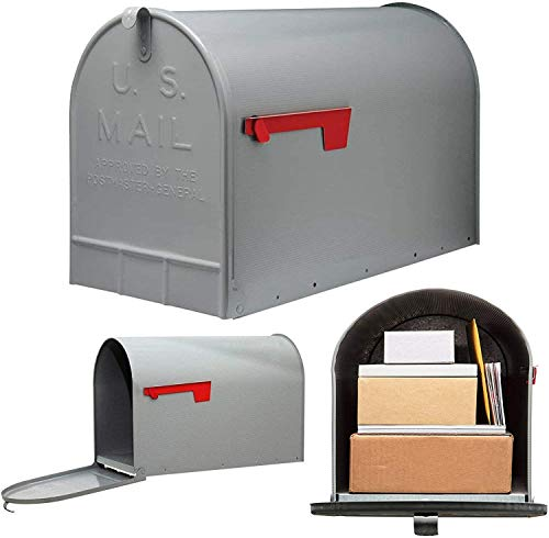COLIBYOU Post Mount Mailbox Extra Large Postal Storage Box Gray Galvanized Steel Heavy - mailboxes for Outside - Large Mailbox.