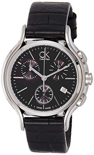 Calvin Klein Damen Chronograph Quarz Uhr mit Leder Armband K2U291C1