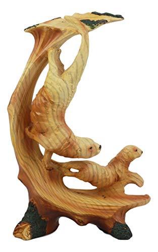 Ebros Pacific Ocean Sea Otters Statue 9' Tall Faux Wood Resin Marine Weasel Sea Otter Family Scene Figurine Coastal Decorative Gifts