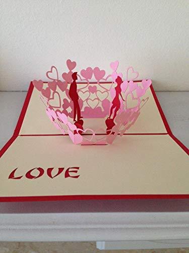 Origami hecho a mano papercraft paperart 3D popup tarjetas amante rojo pareja corazón rosado día de San Valentín compromiso invitación de boda anuncio