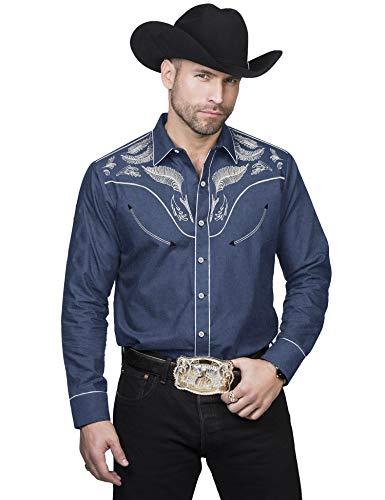 COOFANDY Mens Stylish Embroidered Denim Western Long Sleeve Button Down Shirt,Blue,Medium
