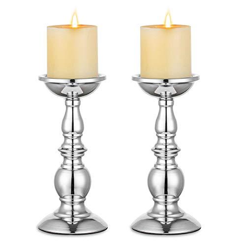 Nuptio Silber Säule Kerzenhalter, Hochzeit Mittelstücke Metall Kerzenhalter für 8cm Kerzen Stand Dekoration Ideal für Hochzeiten Besondere Ereignisse Partys Wohnzimmer, 2 Stück