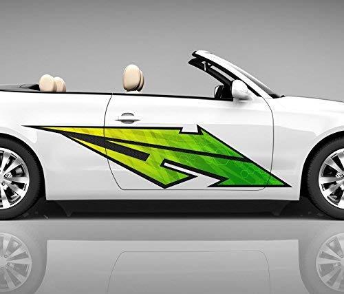 2x Seitendekor 3D Autoaufkleber Blitz grün Digitaldruck Seite Auto Tuning bunt Aufkleber Seitenstreifen Airbrush Racing Autofolie Car Wrapping Tribal Seitentribal CW176, Größe Seiten LxB:ca. 220x50cm