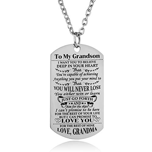 YEEQIN Grandson Necklace Love Grandson Dog Tag Believe Inspirational Gifts from Grandma Grandmother to Grandson Birthday Graduation Gifts