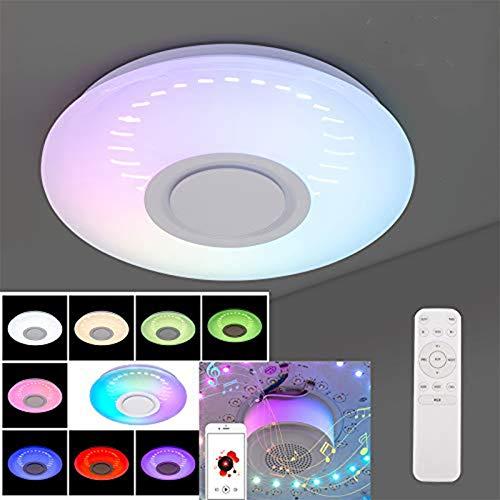 HITECHLIFE Smart Bluetooth Deckenleuchte, Badezimmer Led Deckenleuchte Mit Sternenhimmel Lampenschirm/Musik Bluetooth Lautsprecher Moderne Led Pendelleuchte Unterstützung App - 36w