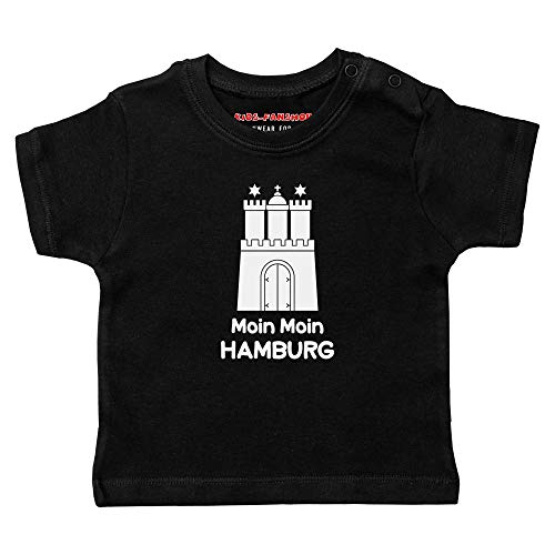 Metal Kids Moin Moin Hamburg - Baby T-Shirt, schwarz, Größe 68/74 (6-12 Monate), 100% Heimat