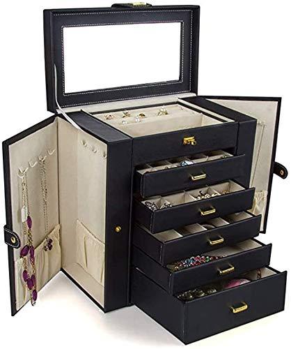 Multifunctional Caja de joyería caja de joyería de trval para las mujeres colgando pendiente espejo armario almacenamiento lateral joyería caja de almacenamiento accesorios sart (color: negro)