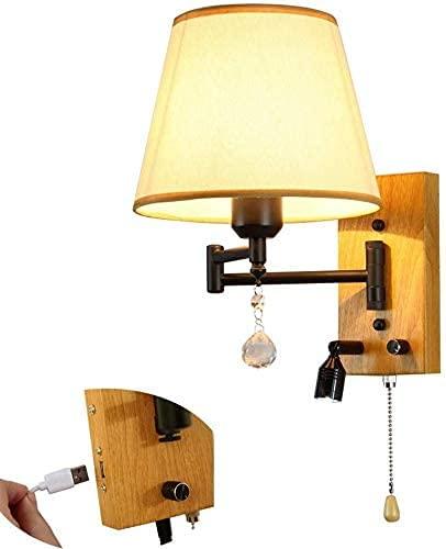 KDLAKE Lámpara de pared LED con lámpara de lectura LED, Lámpara de cabecera de brazo giratorio ajustable con interruptor de cable de tracción, Puerto USB, Pantalla de tela
