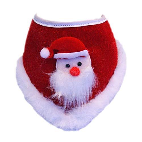 JasmyGirls Pañuelo de Navidad con pajarita para perro, con campanas, copo de nieve, bufanda para mascotas con pompón para cachorros, gatitos, accesorios de vacaciones (Santa Claus, pequeño - mediano)
