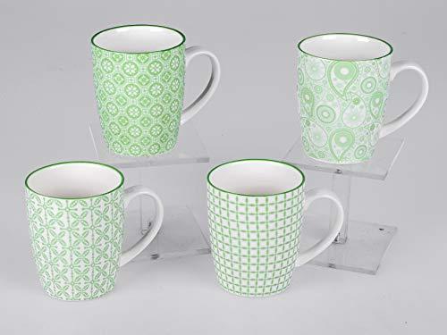 formano 4er Set Kaffeetassen Kaffeebecher in verschiedenen Designs grün 300ml Tasse Becher