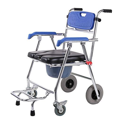 Z-SEAT Silla con Inodoro móvil, Asiento Plegable de aleación de Aluminio, 800 LB para Trabajo Pesado, cojín/Respaldo Impermeable, Adecuado para Pacientes, Personas mayore