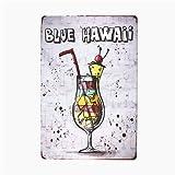 Tin Sign Funny Blue Hawaii Mojito intérieur/pour Les garages,salles de séjour,Chambre,Cocktail Cadeau Nouveauté Signe Bureaux Vintage Metal Wall décor rétro Poster Peinture Art Plaques Pub Bière V