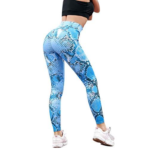 MOTOCO Frauen-Leggings mit Schlangenmuster und hohem Bund und Engen Taillenhosen Größe 38-46(XL,Blau-1)