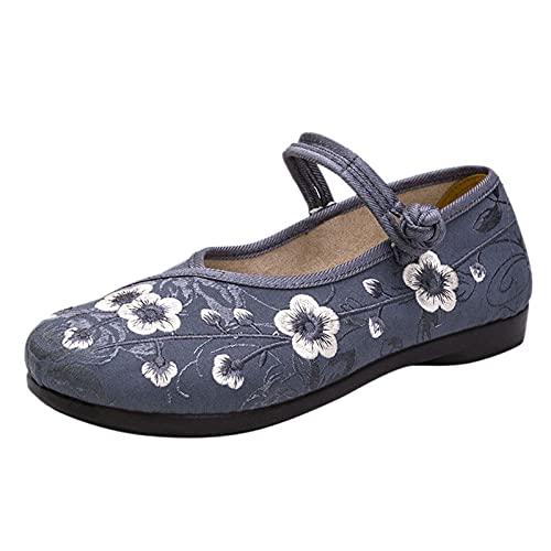 Beudylihy Zapatos planos para mujer, para el tiempo libre, hechos a mano, con bordado de loto, informales, modernos, primavera/verano, suela suave, color, talla 38 EU