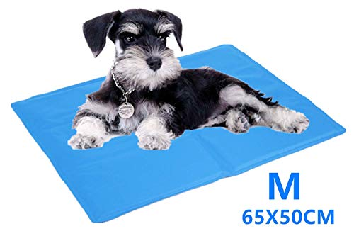 CHANGLIN Dog Cool Mat 90x50cm Durable Pet Dog Cool Pad Non-toxic Gel Self Cooling Pad, Very Suitable for Hot Summer Cats and Dogs(sky Blue) (90 * 50CM)