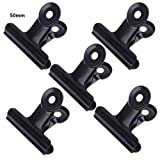 GROOMY 5 Piezas Bulldog Letter Clips Acero Inoxidable Black Metal Paper File Binder Clip Stationary Office Supplies - 50mm