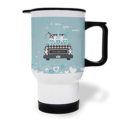 15 OZ Stainless Steel Car Cup with Handle, Gnomes Holding Mom Best Mama Ever Travel Coffee Mug Cup Heated Thermos for Heating Water, Coffee, Tea Milk, Gift