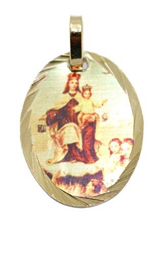 Virgen de las Animas medalla-Medalla de la Virgen del Carmen-La Virgen de Carmel-imágenes de almas entre Purgatorio bañado en oro de 14K Medalla con 18pulgadas cadena