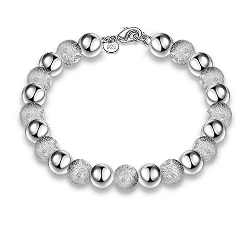 Fablcrew - Braccialetto da donna, alla moda, design con catenina in argento e perle effetto sabbiato, ideale come regalo