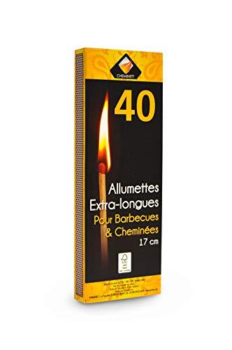 Pyro Feu Fosforos Extra-Largos 17cm. Caja de 40 Uds Extralargos, Madera, 17 cm