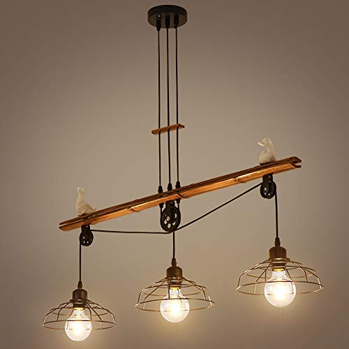 Vintage hanglamp 3 lampen retro zwart ijzer kooi lampenkap hout bamboe hanglamp voor keuken eiland, eetkamer eettafel bar kantoor kroonluchter rol in hoogte verstelbaar eetkamerlamp, L90CM