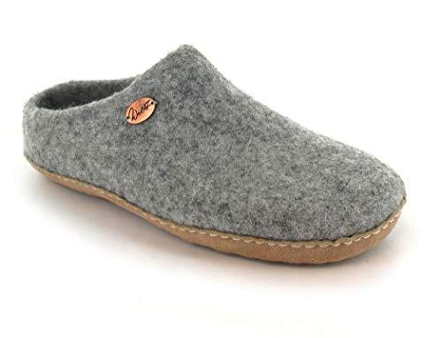 WoolFit Footprint - Unisex Barfuß-Hausschuhe aus 100% Wolle - handgefilzte Pantoffeln mit Flexibler Ledersohle & selbstformendem Fußbett, steingrau, Größe 35