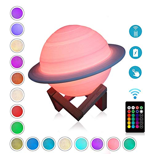 3D-Nachtlicht, FORNORM 3D-Druck Saturn-Lampe Wiederaufladbare Mondlampe Saturn-Lichtdekoration mit Touch-Schalter, 16 Farben, Fernbedienung, 15 cm für Weihnachtsgeburtstagsgeschenk