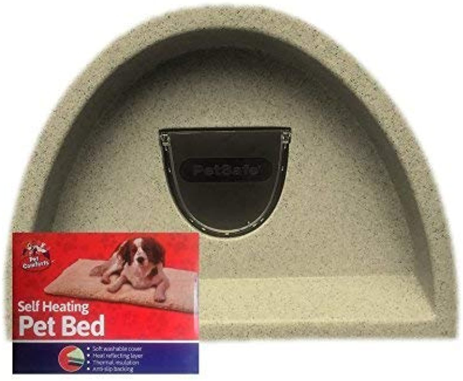 Brown Cat house with flap and self heat pad