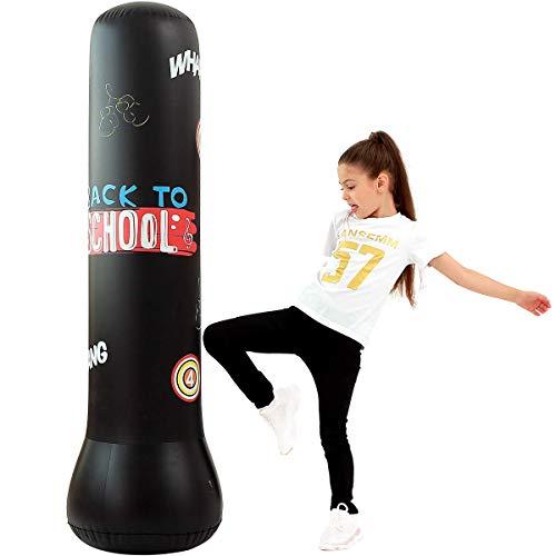 LONEEDY Bolsa de arena inflable para fitness, saco de arena de boxeo de pie libre, para jóvenes y niños, saco de arena de boxeo pesado, combinación de fitness y entretenimiento (negro)