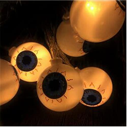 luces de cadena de globo ocular de halloween,10 Led Ojo Fantasma,6.56ft Led Luces Decoración Impermeables Al Aire Libre,para Halloween En Interiores/Exteriores,Decoración De Fiestas