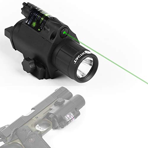 Tacticon Armament Green Laser Flashlight for Handgun or Rifle with Picatinny Rail Mount and Tail Switch (Green-Laser)