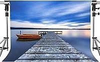 写真撮影のためのHD穏やかな湖の背景紺碧の空と湖の静かな湖観光リゾートの背景7x5フィートHXMT243