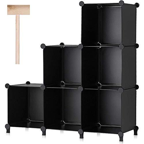 Hengqiyuan 6 Cubos Almacenamiento Cubos modulares, DIY Plástico Armario Organizador Estantes con Martillo de Madera, Librería apilable para la Oficina de la Sala de Estar de la habitación,Negro