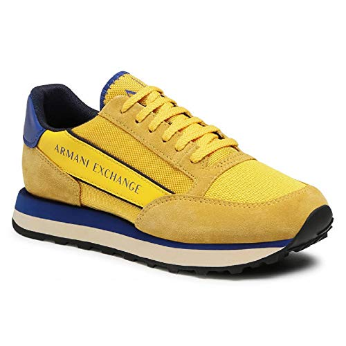 ARMANI EXCHANGE Osaka Running with Branded Band, Scarpe da Ginnastica Uomo, Yellow Bluette Navy, 40 EU