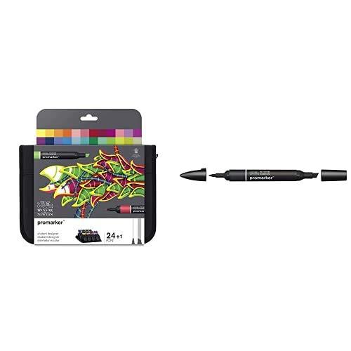 Winsor & Newton Promarker Pack Rotuladores De Diseño Para Estudiantes, Multicolor, Diseñador Escolar, Set De 24 + Rotulador Promarker, Black (Xb), Negro