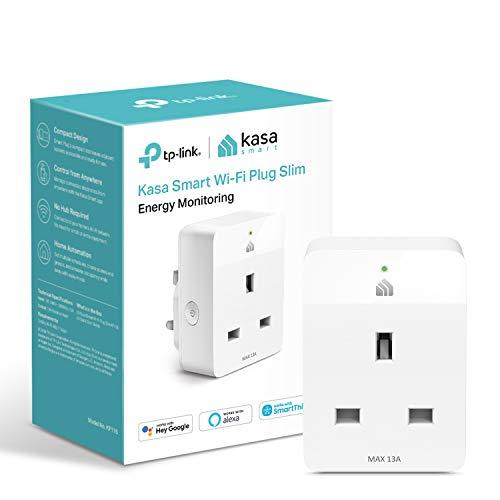 Kasa Mini enchufe inteligente por TP-Link, toma WiFi con monitoreo de energía, funciona con Amazon Alexa (Echo y Echo Dot), Google Home y Samsung SmartThings, enchufe inteligente inalámbrico (KP115)