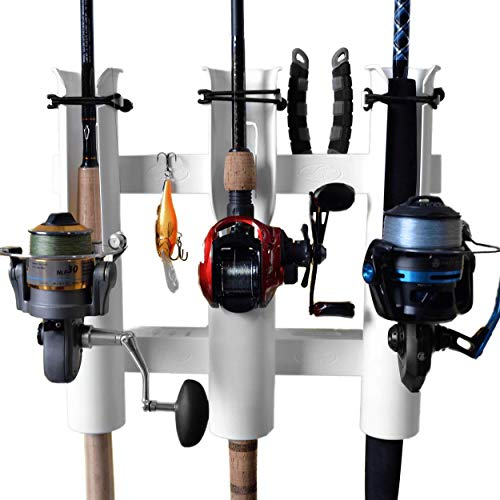 Rod-Runner 3 Rod Rack | Tri-Mount Fishing Rod Holder | White