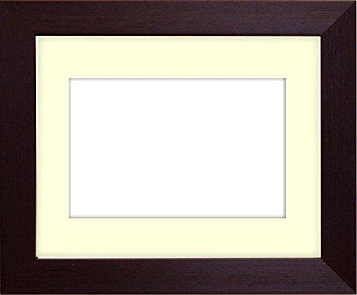 写真用額縁 1530/ダークブラウン写真四つ切(305×254mm) ガラス マット付 マット色:黒