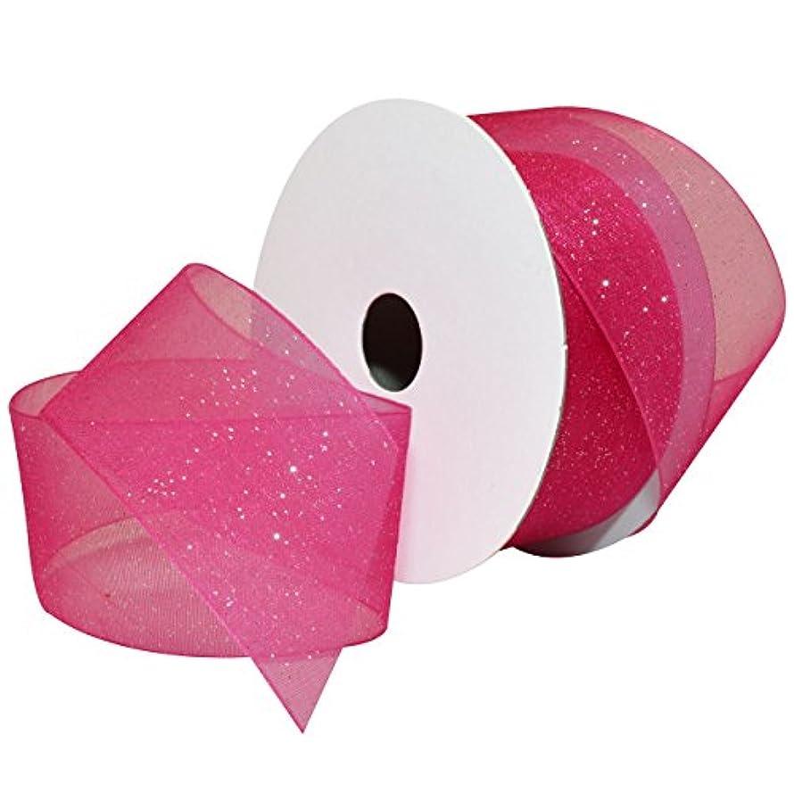 Morex Ribbon Sugar Sheer Organdy Ribbon, 1-1/2-Inch by 25-Yard, Hot Pink