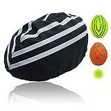 Yunjiadodo - Casco de bicicleta impermeable con tira reflectante, color negro, 1 unidad