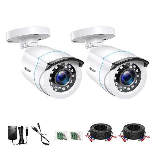 ZOSI 2X 1080p Full HD Außen Überwachungskamera Weiß Bullet Kamera Set mit Kabel und Netzteil, Ersatz Kamera für 1080P TVI DVR Sicherheitssystem