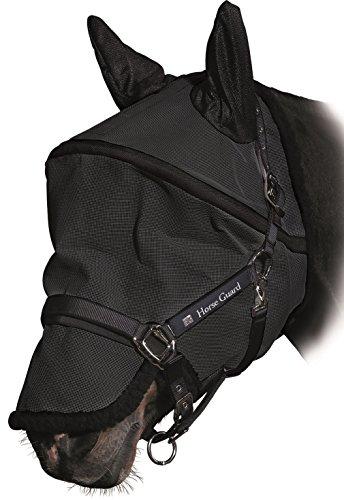 Amesbichler Vliegenmasker, anti-UV met oorbescherming, maat XL, afneembaar neusgedeelte beschermt het paard tegen UV-stralen, met 2-voudig klittenband, zwart.