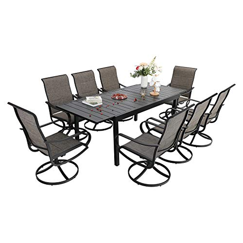 Sophia & William Patio Dining Set 9 Pieces Outdoor Meta Furniture Set, 8 x Patio Dining Swivel Chairs Padded with 1 Expandable 6-8 Person Table for Lawn Garden