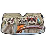 Oarencol Raccoon Driving Car Windshield Sun Shade Funny Animal Music Foldable UV Ray Sun Visor Protector Sunshade to Keep Your Vehicle Cool (55' x 27.6')