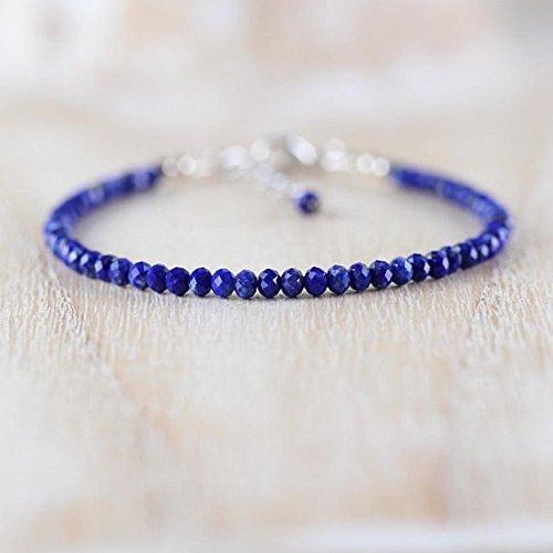 Lapis Lazuli & Pulsera de plata de ley. Pulsera de piedras preciosas azules. Dainty Beaded Stacking Pulsera Delicada joyería semipreciosa. Joyería de 3 a 3,5 mm