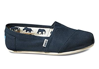 TOMS Women's Canvas Slip-On,Navy Canvas,10 M